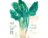 Rustic kitchen art, Vegetable poster, Swiss chard french recipe, 8X10 print green kitchen decor Watercolor food - lucileskitchen