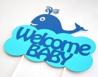 Whale Centerpiece, Baby Shower Party Centerpiece, Welcome Baby, whale baby shower, Centerpiece, A476