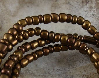 Seed Bead, Bronze Glass Beads, Small Glass Bead, 4mm Brown Bead, Strand of Beads, Brown Glass Bead