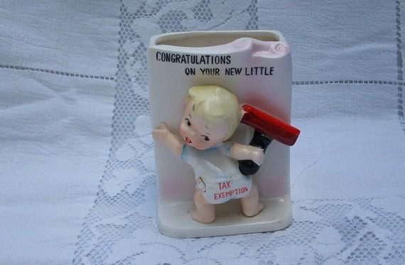 Vintage Ucagco Baby Congratulations on Your New Little Tax Exemption Planter