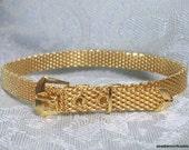 "Vintage Bracelet Gold Tone Mesh with ""Belt Closure"" New Old Stock NOS 7"""