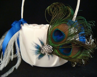 Peacock Flower Girl Basket with Blue Satin Ribbon / peacock wedding basket bridal peacock