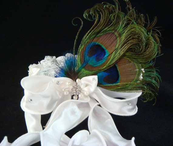 PEACOCK Flower Girl Halo with pearls and lace / IVORY peacock headband Peacock Wedding Hair
