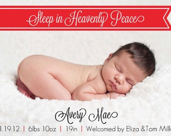 Heavenly Peace Holiday Birth Announcement