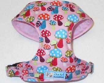 Pink Mushroom Comfor Soft Dog Harness. - Made to Order -