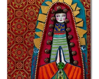 Mexican Folk Art Ceramic Tile  Virgin of Guadalupe Art  Mexican Talavera Tiles Gift COASTER