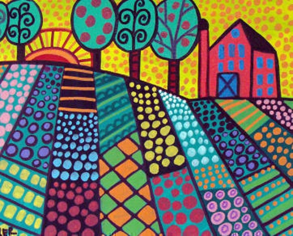 40 FLASH SALE Folk Art Print Landscape Tree Poster