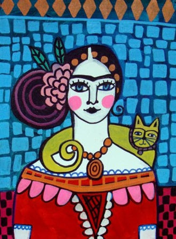 60% Off- Mexican Folk Art - Frida Kahlo Yellow Cat Art  Art Print Poster by Heather Galler of Painting by Heather Galler (HG641)