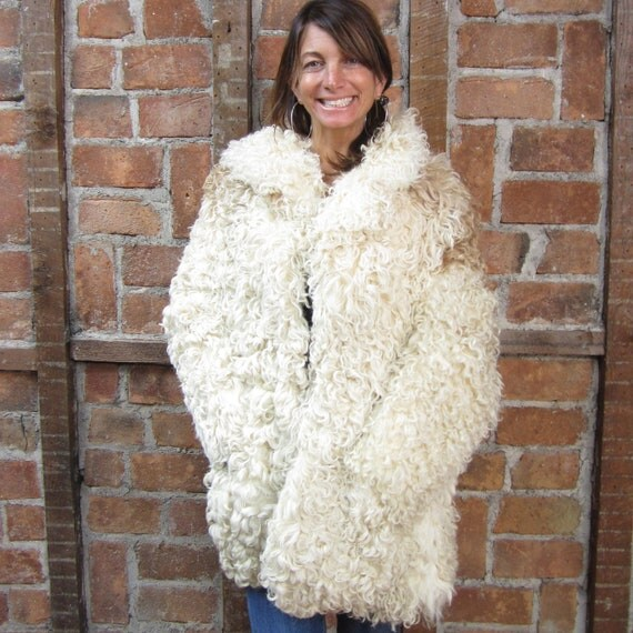 1970s Lamb Jacket Curly Lamb Hippie Mongolian Fur Jacket