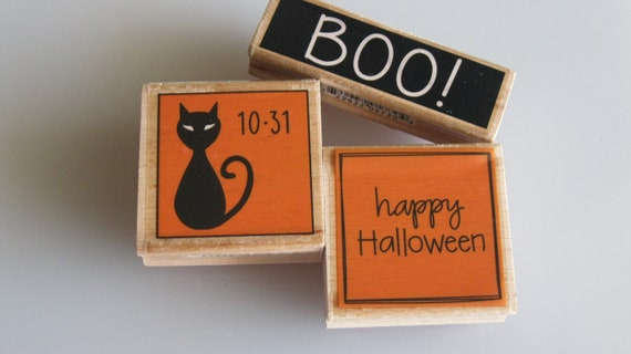 Halloween Rubber Stamps Set Of 3 Gently Used