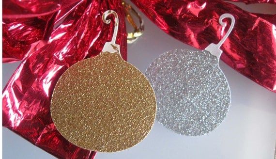 24 Christmas Glitter Ornaments Silver and Gold