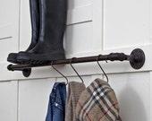24 Inch Plumbing Pipe Storage Bar - Towel Bar Pot Rack Coat Rack - Reclaimed Industrial Steel Plumbing Pipe // Ebonized Rust Patina