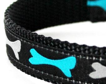 Teal Bones Dog Collar, Ribbon Pet Collar, Adjustable, Black Dog Collar