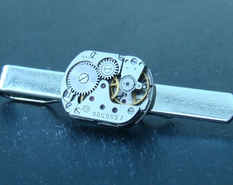 Steampunk tie bar with vintage watch movement ideal gift for christmas, wedding, anniversary or birthday