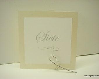 Spanish Wedding Table Numbers Wedding Reception Decoration Modern Square Layered Design and Elegant Script Font