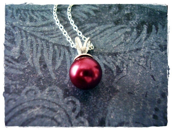 Tiny Purple Pearl Pendant Necklace in Sterling Silver with a Delicate 18 Inch Sterling Silver Cable Chain