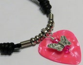 Guitar Pick Necklace - Butterfly Necklace - Angel Wings - Guitar Pick Jewelry - Christian Necklace - Hot Pink - Christian Jewelry