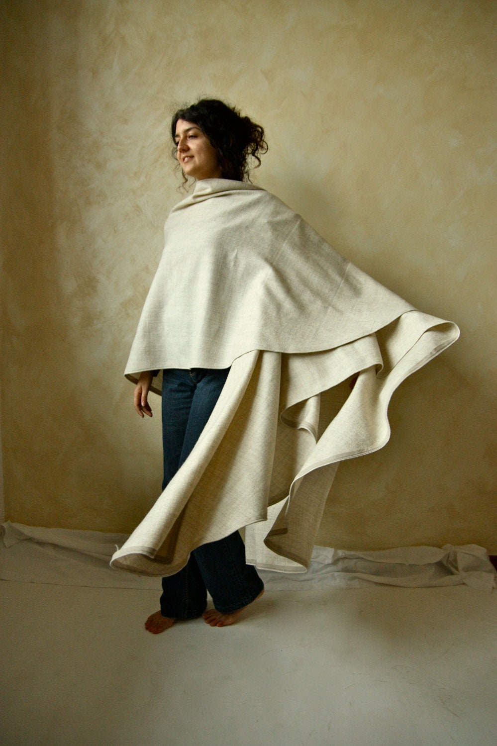 Wool Wrap Cloak Medieval Winter Cape Womens Stole