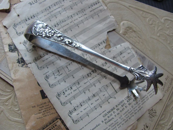 Antique Silver Small Sugar Tongs Claw Feet Ornate - 5.25 Inches