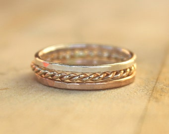 Rose gold stacking rings,  Set of 3 - Pink Mix, elegant casual, eternity rings, stackers, thin ring