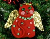 Red Angel Cat Christmas Ornament, Handmade, Polymer Clay - MelodyODesigns