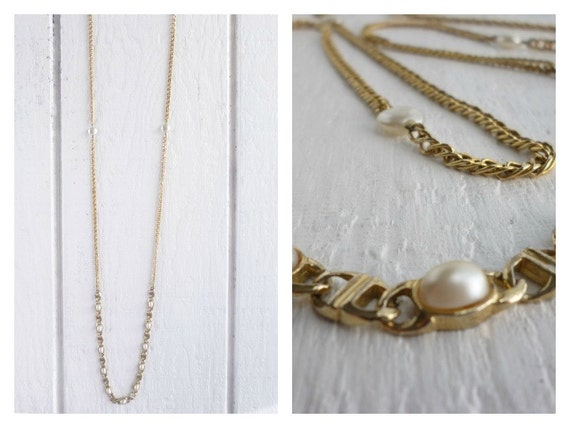 Bohemian Recycled Boho Chunky Chain and  Pearl Holiday Necklace