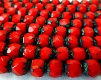 50 Czech Glass 6mm Fire Polish Round Rose Beads  in Opaque Red with Black Picasso end caps
