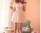 Vintage Baby Pink Lace Dress with Cute Collars