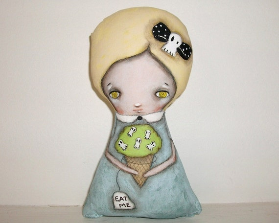 Whimsical art folk art Halloween doll Alice in wonderland painting Mixed media art doll soft sculpture - Alice's Ice cream