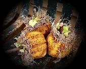 Primitive Folk Art Halloween Mustard Yellow Pumpkin Ornies Set Of 3-FAAP