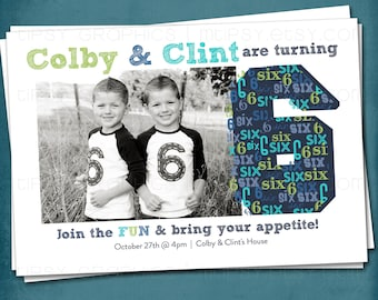 BIG 6 little six. Modern & Graphic Birthday Party Invite by Tipsy Graphics. Girls Boys Twins. Any age, any colors