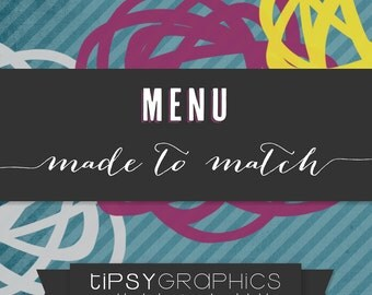 Menu. Printable ADD ON. Baby or Bridal Shower Menu. Made to Match any Tipsy Graphics Design