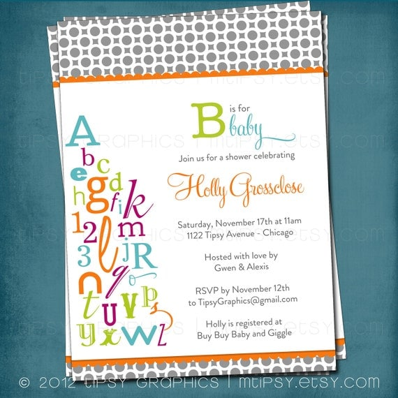 Alphabet Baby Shower Invitation. ABC Library Invite.  Bring a letter. Bring a Book. Any colors and text by Tipsy Graphics