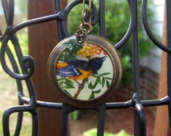 Blue Bird Medallion Chain Necklace
