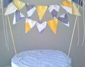 Cake Bunting Topper Yellow, White and Grey Chevron, dots and solids