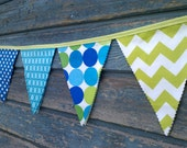 Fabric Bunting Flags Party Banner Birthday Banner Bright Blue,Turquoise, Lime Green Photo prop Cake Smash Banner Pennant Flags
