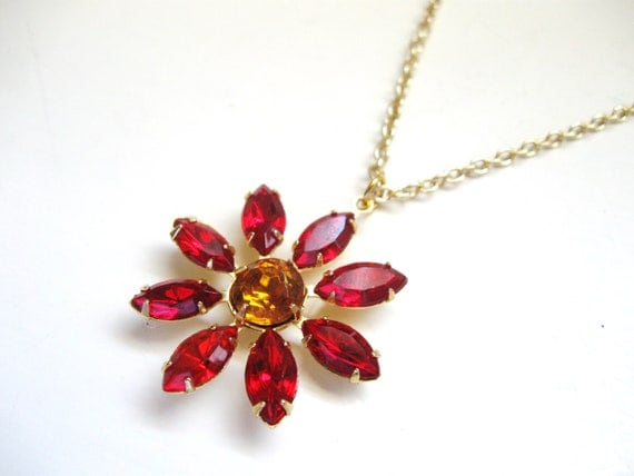 Red and Gold Flower Necklace - Poinsettia Christmas Holiday