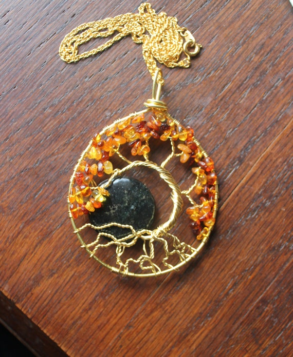 Enchanting Amber and Pyrite Moon Tree of Life Necklace