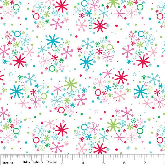 SALE Riley Blake Santa Snowflake in White C2974  -- 1 yard, in stock