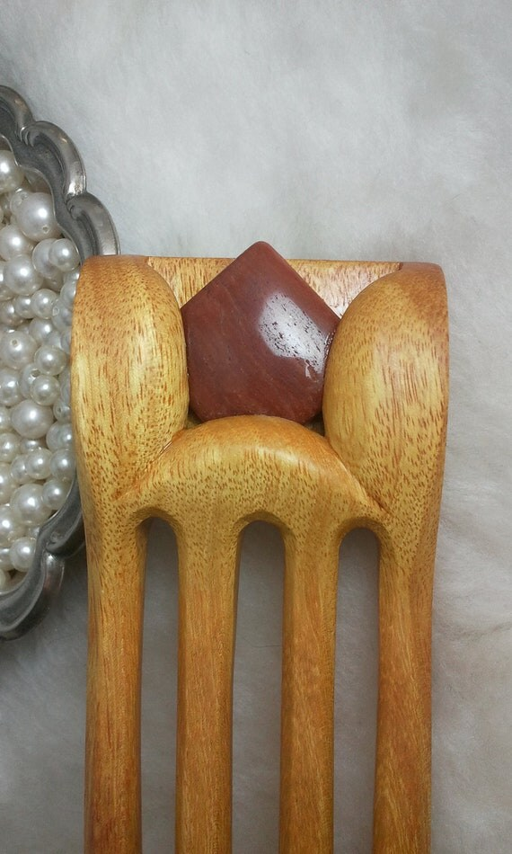 Osage Orange Hair Fork with Orange Aventurine