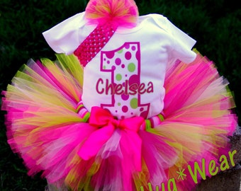 Personalized Custom Birthday Polka Dot Shirt + Tutu Outfit (any age)  pinks and lime green