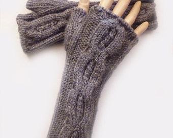 Fingerless Gloves, Fingerless Mittens, Knit  Dark Grey Cable Fingerless Gloves, Arm Warmers, Winter Accessories, Fall Fashion, Owl gloves