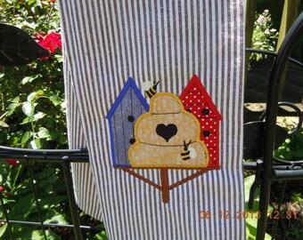 Birdhouse Kitchen Towel-appliqued