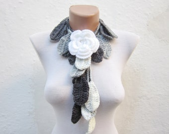 Flower Brooch Pin, Scarf, Leaf Scarf, Crochet Lariat Scarf, Flower Long Necklace