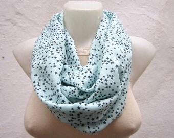 Star Print infinity Scarf, Loop Scarves, Mint, Black, Circle Scarf, Women Accessories, Tube Shawl, Fabric Necklace, Neckwarmer