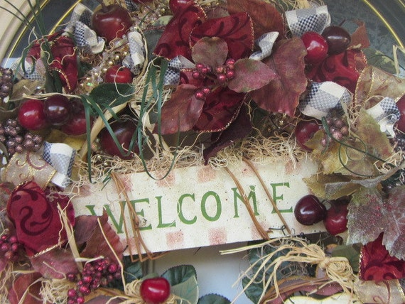 Red Apple n Cherry Country Home Decor wreath
