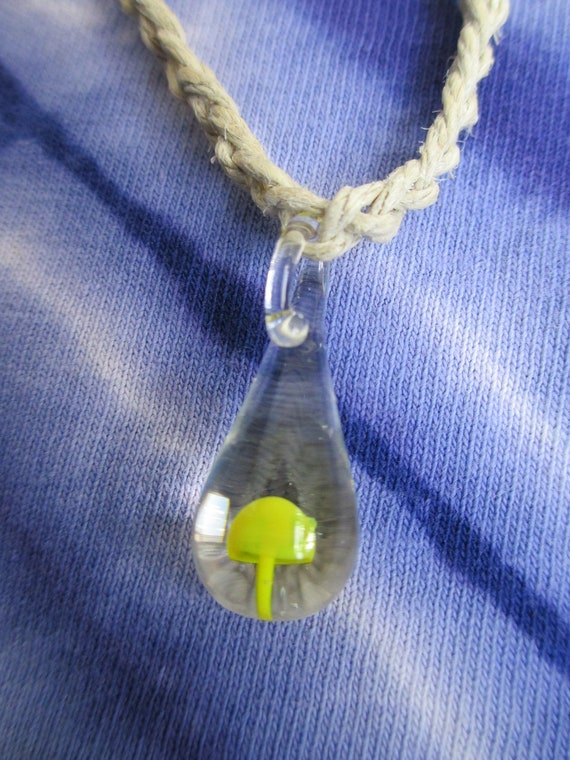 Hemp Necklace YELLOW MUSHROOM  Hippie SHROOM Glass Pendant