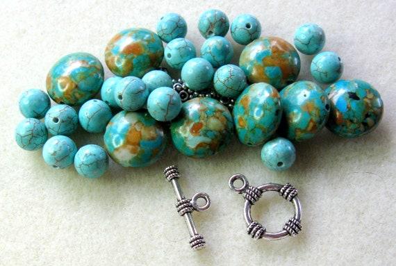 DIY Turquoise Pewter Bracelet Beads Kit