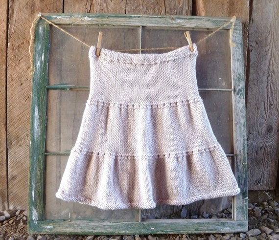 knit skirt // womens tiered indie skirt hand knit in sandstone //  size s/m