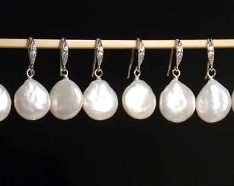 5 pairs set: silver reshwater pearl earrings, coin pearl earrings with rhodium plated ear wires, cubic zirconia